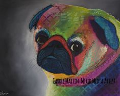 Items similar to Acrylic original painting of Pug on gallery wrapped canvas on Etsy Original Art, Original Paintings, Carrie, Wrapped Canvas, Pugs, The Originals, Gallery, Etsy, Fictional Characters