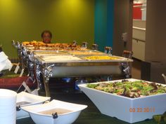 Getting the UKno Catering buffet ready....