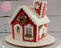 Red gingerbread house with white roof Gingerbread House Designs, Gingerbread House Parties, Gingerbread Village, Christmas Gingerbread House, Christmas Sweets, Christmas Cooking, Christmas Goodies, Gingerbread Cookies, Cookie House