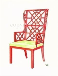 RED CHINOISERIE CHAIR Original watercolor painting