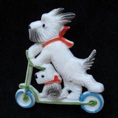 Adorable Vintage Plastic Scottie Dogs on Scooter Bike from Vintage Jewelry Girl! Vintage Dog, Vintage Pins, Vintage Brooches, Vintage Costume Jewelry, Vintage Costumes, Vintage Jewelry, Dog Jewelry, Animal Jewelry, Scottish Terrier