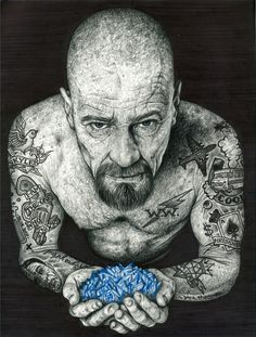 breaking bad heisenberg tattoo tv inked walter white Pop art Breaking Bad Tattoo, Breaking Bad Arte, Serie Breaking Bad, Walter White, Heisenberg Art, Canvas Art, Canvas Prints, Art Prints, Bad Tattoos