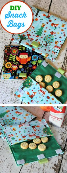 Homemade Snack Bags: Easy Back to School Sewing Craft.line with plastic for easier cleaning Diy Sewing Projects, Sewing Projects For Beginners, Sewing Hacks, Sewing Tutorials, Sewing Crafts, Sewing Patterns, Sewing Tips, Fabric Snack Bags, Diy Bags No Sew