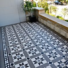 Olde English Tiles' gorgeous tessellated tiled floors can revitalise and transform a tired verandah into a spectacular, welcoming entrance to your home. Front Porch Stairs, Front Verandah, Victorian Tiles, Victorian Cottage, Victorian Terrace, House Stairs, Facade House, Terrace House Exterior, Porch Tile