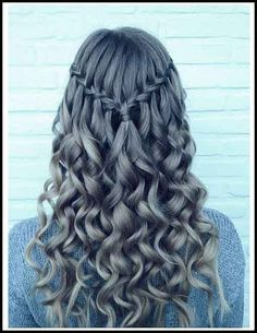 Half Up-Half Down Hairstyles – Waterfall Braid and Curls… Half Up-Half Down. Half Up-Half Down Hairstyles – Waterfall Braid and Curls… Half Up-Half Down Hairstyles – Wat Sweet 16 Hairstyles, Down Hairstyles For Long Hair, Quince Hairstyles, Different Hairstyles, Formal Hairstyles, Diy Hairstyles, Wedding Hairstyles, Birthday Hairstyles, Braids With Curls Hairstyles