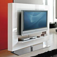 Panorama drehbarer TV-Rack - Struktur aus weiß hochglanz lackiertem Holz