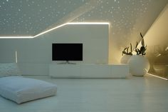 #starry #sky #lacquered #white #loft #design #led #tv #glass #bed #exclusive #interior