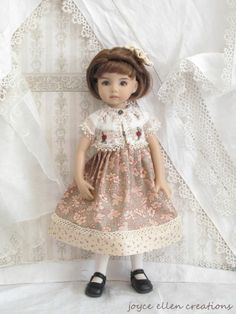 """13"""" Effner Little Darling BJD taupe & cranberry dress set OOAK handmade by JEC"""