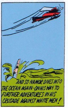 Namor fights back becase #AtlanteanLivesMatter (this is, I think from Marvel Comics #1 in 1939, he's just killed the pilot of the plane. Early-20th century Namor was a ruthless bastard, indeed)