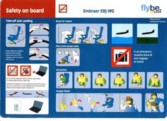 Flybe Airlines Embraer ERJ-190 SAFETY Card
