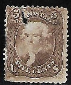 USA USED 1861-66 - Scott # 76 - 5¢ Jefferson - brown, Faults