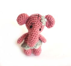 $31.46 ballerina elephant, crochet pink elephant doll, charming little elephant, #ballerina doll, collectible ballerina #birthdayparty centerpiece, #picoftheday