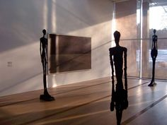 The Beyeler Foundation in Riehen, Switzerland with Alberto Giacometti bronze sculptures Grande femme III & IV (1960) and Femme de Venise VIII (1956), and a painting by Mark Rothko (USA, c.1960s).
