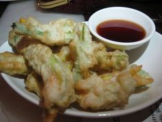 Tempura Zucchini Flower with Vinacotta. Part of the 3 course #vegan meal from Cloudland, Brisbane