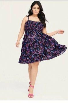 3e664eb61f9 Details about NEW Very Sexy Torrid Smocked Challis Dress sz 0 Black Purple  Palm NWT 11258211