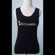 RYKIEL WOMAN Black Diamanté TRICHEUSE Top Size S RYKIEL WOMAN Black Diamanté TRICHEUSE Top Size S, Close up photo shows diamantés and lettering distressed, price reflects Rykiel Tops