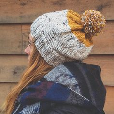 Kamloops Hat - Slouchy style knit color-block hat in cream tweed and mustard…