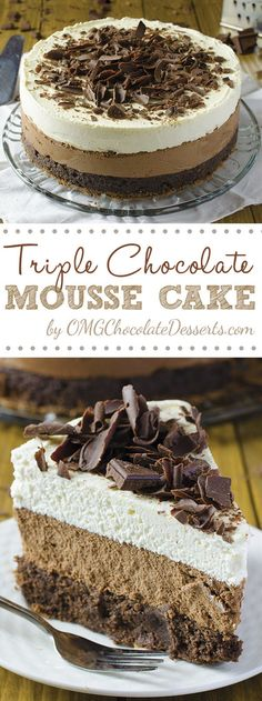 One of the most decadent chocolate cakes ever – Triple Chocolate Mousse Cake What if your chocolate cake has three chocolate layers instead of one? Then, we are talking about one of the most decadent chocolate cakes – Triple Chocolate Mousse Cake. Triple Chocolate Mousse Cake, Decadent Chocolate Cake, Chocolate Desserts, Chocolate Smoothies, Chocolate Shakeology, Chocolate Chocolate, Chocolate Mouse Cake, Chocolate Crinkles, Chocolate Drizzle