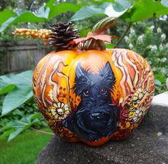 Autumn Scottish Terrier Florist Pumpkin Hand Painted Scottie Decorative Art