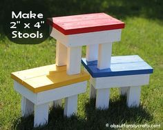 2 x 4 Stools {as seen on Pinterest} | All About Family Crafts