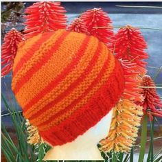 Handknit 100% wool Orange and Red stripes Knitted Hats, Crochet Hats, Angela White, Z Arts, Red Stripes, Main Colors, Hand Knitting, Beanie, Wool