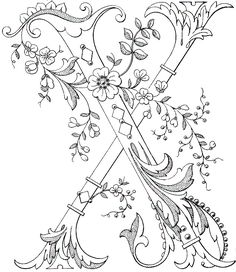 Magic Coloring - Decorated Flower Monogram Coloring Page for letter Embroidery Letters, Hand Embroidery, Embroidery Designs, Fancy Letters, Monogram Letters, Animal Coloring Pages, Coloring Book Pages, Creative Lettering, Illuminated Letters