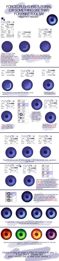 Eye (iris) tutorial for mouse users (SAI) by forcecrush.deviantart.com on @deviantART