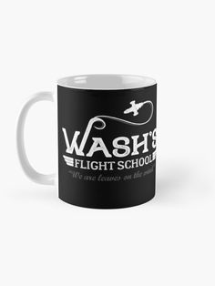 """""""Wash's Flight School"""" Mug by ninthstreet   Redbubble School S, Cotton Tote Bags, Nerdy, Kids Outfits, Cool Designs, Pouch, Leaves, Ceramics, Mugs"""
