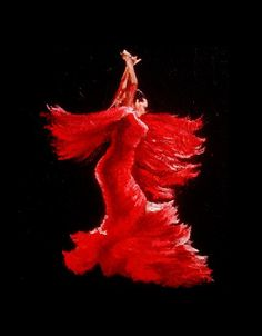 Flamenco Dancer in Red Painting - Tam Fleetwood Moody