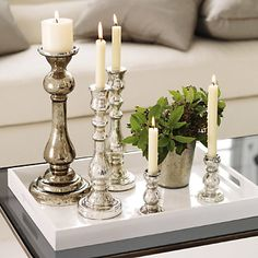Buy Christmas > Christmas Table > Antiqued Ribbed Candlestick from The White Company White Company Candles, White Company Gifts, The White Company, Elegant Christmas Decor, Christmas Decorations, Table Decorations, Holiday Decorating, Decorating Tips, Chandeliers