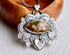 Hand Stamped Ocean Jasper Pendant Necklace, 925 Silver Necklace, Textured Silver Pendant, Boho Style, Fabricated Silver Necklace