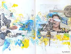 "My art journal page ""The big moon shines in the sky..."" My journey through the Scrapbookworld...: The big moon shines in the sky..."