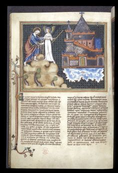 K151518 Half-page framed miniature of the angel showing John the heavenly city with a decorated initial and foliate partial border, France, N. W. (Normandy), c.1320-1330, Add MS 17333, f. 45v