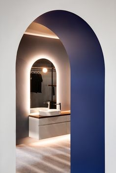 Minosa: Exciting Spaces for Lincoln Sentry by Minosa. Archways and arched mirror Modern Interior, Home Interior Design, Open Plan Bathrooms, Bedroom Decor Lights, Arch Mirror, Space Architecture, Staircase Design, Modern Bathroom Design, Commercial Design
