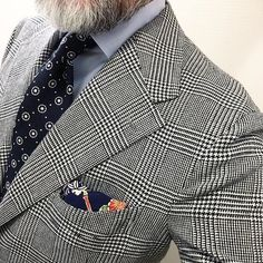 @seigo_nk wearing our Navy Floral Motif Boucle & Summer Kimono Silk Pocket Square. Available at shibumi-firenze.com #shibumi