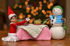 Elf on the Shelf Tea Party  Brownie the Elf enjoys a midnight tea party with Frosty.