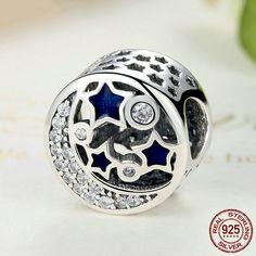 Cielo stellato, Moon Star Bright Night Sky 100% argento sterling 925  adatta a misure Pandora charm, beads e braccialetto europeo S379 di OceanBijoux su Etsy