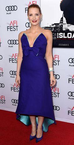 Jessica Chastain in Prada attends the 'Miss Sloane' L.A. premiere. #bestdressed