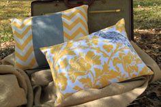 NEW: Yellow & Grey Pillow Set of 2 - Chevron meets Burlap - 12x16 lumbar. $32.00, via Etsy.