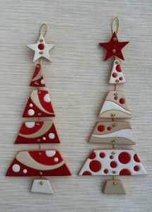 A collection of 31 Handmade Christmas Tree Ornament Ideas th Ceramic Christmas Decorations, Christmas Crafts, Christmas Ornaments, Holiday Decor, Red Ornaments, Christmas Trees, Handmade Christmas, Clay Crafts, Diy And Crafts