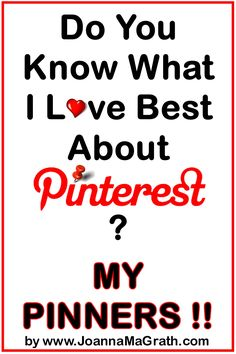 Do You Know What I LOVE Best About Pinterest?... My Pinners by JoannaMaGrath.com