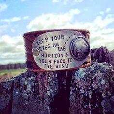 EYES ON the HORIZON vintage belt cuff bracelet by DirtRoadGirls, $45.00