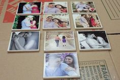 Great idea for wedding pictures ;) How to Make Photo Covered Tile Coasters Tile Crafts, Fun Crafts, Arts And Crafts, Photo Coasters, Diy Coasters, Diy Photo, Photo Craft, Diy Projects To Try, Craft Projects