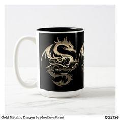 Gold Metallic Dragon Two-Tone Coffee Mug Beer Mugs, Coffee Mugs, Artwork Design, Photo Mugs, Portal, Colorful Backgrounds, Color Pop, Create Your Own, Coasters