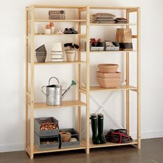 Skandia Garage Shelving // The Container Store Shop Shelving, Custom Shelving, Garage Shelving, Storage Shelves, Storage Spaces, Garage Storage, Wooden Shelving Units, Solid Wood Shelves, Organizational Design