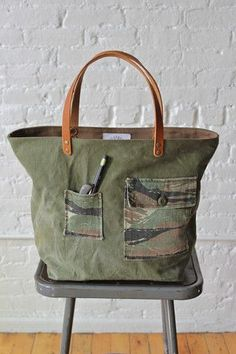 good thing to do with old textiles: WWII era Canvas  Camo Carryall from Forestbound #camopurses