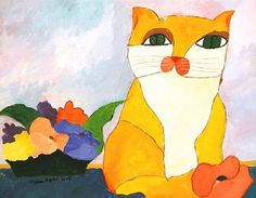 Yellow Cat and Flowers – Aldemir Martins, 2002 Gelbe Katze und Blumen – Aldemir Martins, 2002 I Love Cats, Cool Cats, Cat Stands, Kinds Of Cats, Yellow Cat, Art Database, Naive Art, Animal Paintings, Cat Art