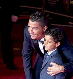"madridistaforever: "" Cristiano Ronaldo and his son Cristiano Jr attend the World Premiere of 'Ronaldo' in London. """