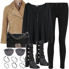 A fashion look from October 2015 featuring plus size shirts, motorcycle jacket en black jeans. Browse and shop related looks.