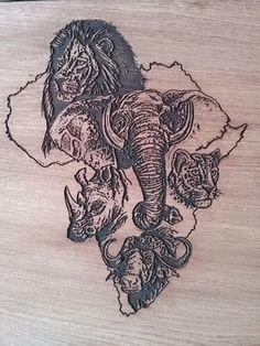 The big five Elephant Paintings, Giraffe Art, African Animals, African Safari, Black Women Art, Black Art, Africa Silhouette, Africa Tattoos, Hirsch Tattoo